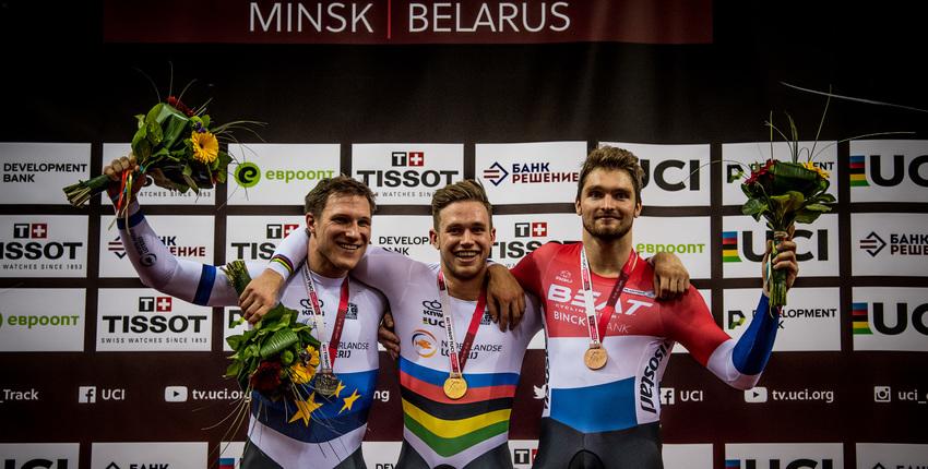 Nederlands podium bij de wereldbeker baanwielrennen in Minsk